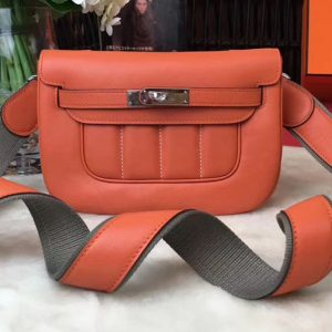 Replica Hermes Berline 20cm Original Swift Leather Bags Orange