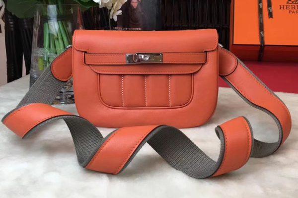 Replica Hermes Berline 20cm Original Swift Leather Bags Orange