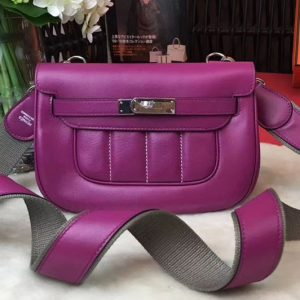 Replica Hermes Berline 20cm Original Swift Leather Bags Purple