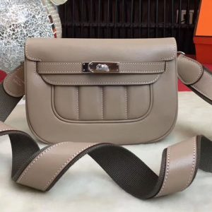 Replica Hermes Berline Original Swift Leather Bags Light Grey