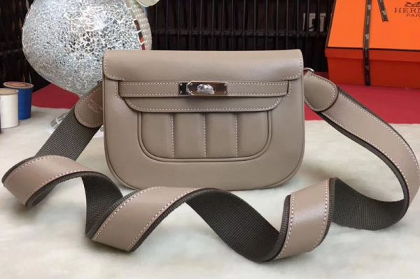 Replica Hermes Berline Original Swift Leather Bags Light Grey