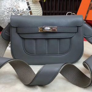 Replica Hermes Berline 20cm Original Swift Leather Bags Iron Grey