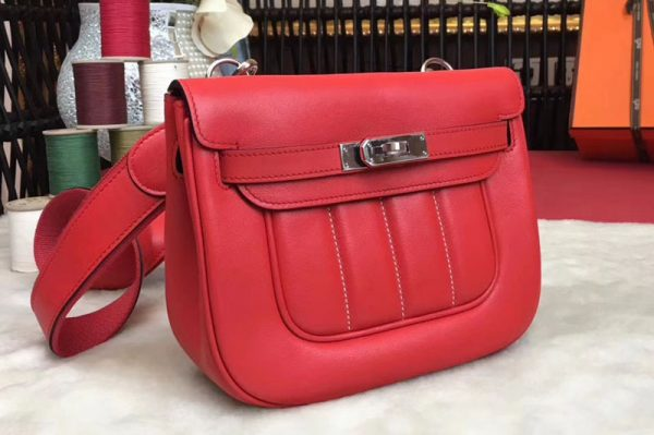 Replica Hermes Berline 20cm Original Swift Leather Bags Red