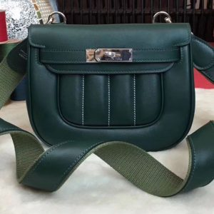 Replica Hermes Berline 20cm Original Swift Leather Bags Dark Green