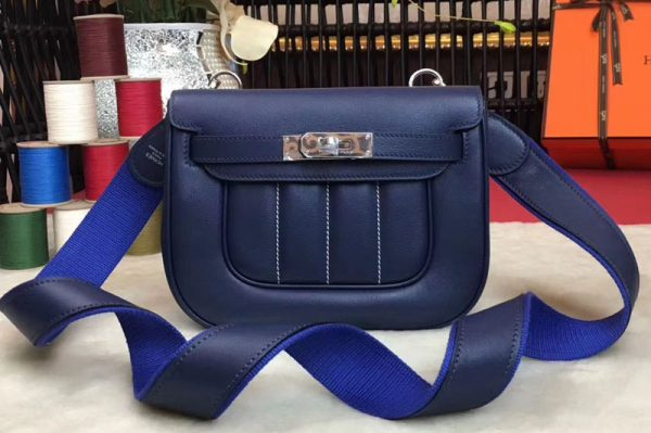 Replica Hermes Berline 20cm Original Swift Leather Bags Dark Blue