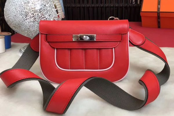 Replica Hermes Berline 20cm Original Swift Leather Bags Red/White