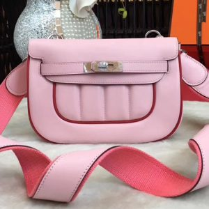 Replica Hermes Berline 20cm Original Swift Leather Bags Pink/Red