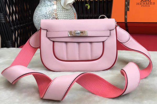 Replica Hermes Berline 20cm Original Swift Leather Bags Pink/Red