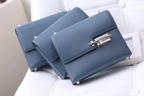 Hermes mini Chevre verrou 18cm shoulder Bag Original Togo Leather Light Blue