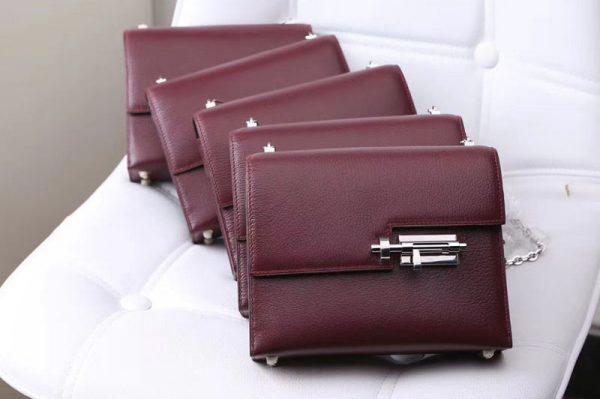 Replica Hermes mini Chevre verrou 18cm shoulder Bag Original Togo Leather Wine