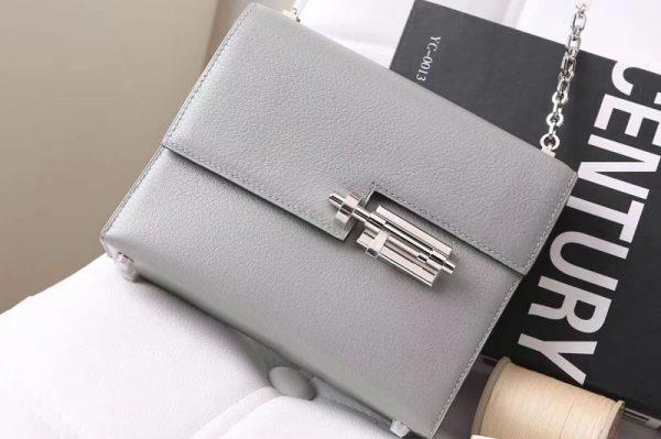 Replica Hermes mini Chevre verrou 18cm shoulder Bag Original Togo Leather Gray