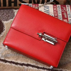 Replica Hermes mini Chevre verrou 18cm shoulder Bag Original Togo Leather Red