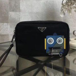 Replica Prada 2NE007 Nylon and Saffiano Leather Cosmetic Pouch Blue/Grey