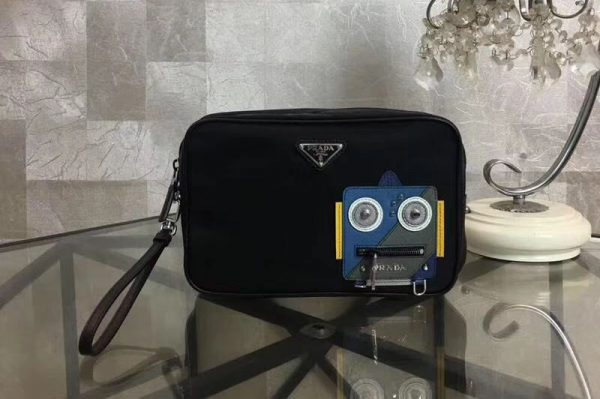 Replica Prada 2NE007 Nylon and Saffiano Leather Cosmetic Pouch Blue/Grey