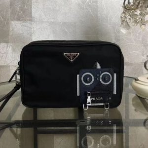 Replica Prada Nylon and Saffiano Leather Cosmetic Pouch 2NE007 Navy/Black