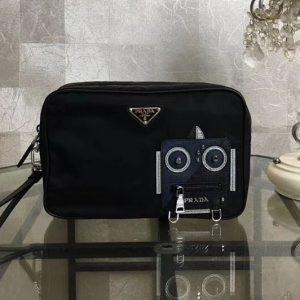 Replica Prada Nylon and Saffiano Leather Cosmetic Pouch 2NE007 Navy/Black
