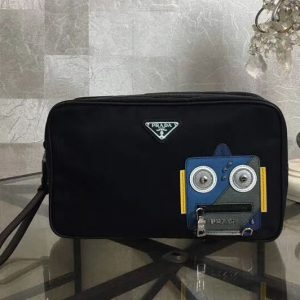 Replica Prada Nylon And Saffiano Leather Cosmetic Pouch 2NE011 Blue/Grey