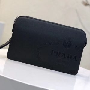 Replica Prada 2VF056 Saffiano Leather Clutch With Black Logo Print Black