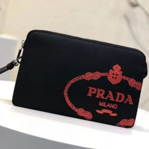 Replica Prada 2VF056 Saffiano Leather Clutch With Red Logo Print Black