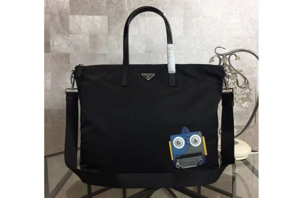 Replica Prada Nylon Tote with Blue/Grey Robot Appliqué 2VG024