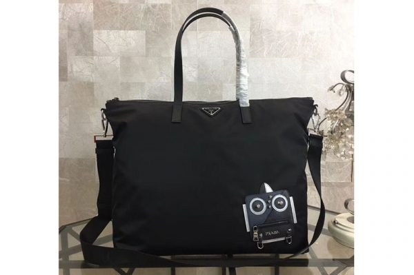 Replica Prada Nylon Tote with Robot Appliqué 2VG024 Navy/Black