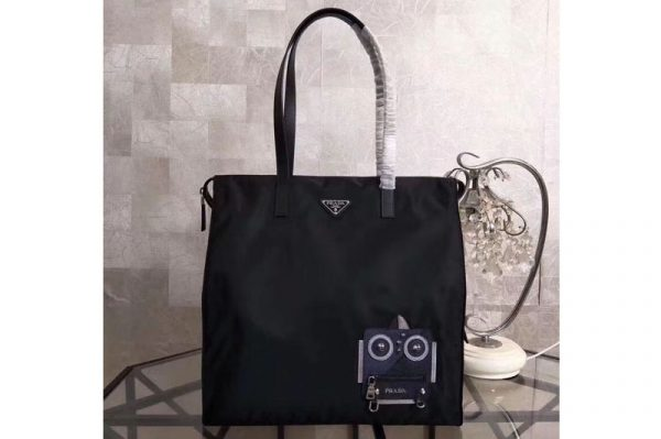 Replica Prada Nylon Tote with Robot Appliqué 2VG026 Black/Navy