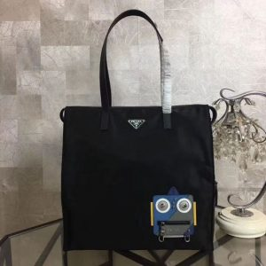 Replica Prada Nylon Tote with Robot Appliqué 2VG026 Blue/Grey