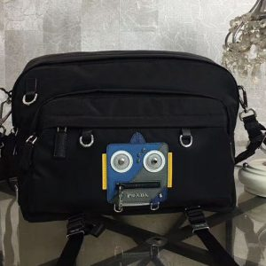 Replica Prada Robot Appliqué 2VH025 Nylon Messenger Bag With Blue/Grey