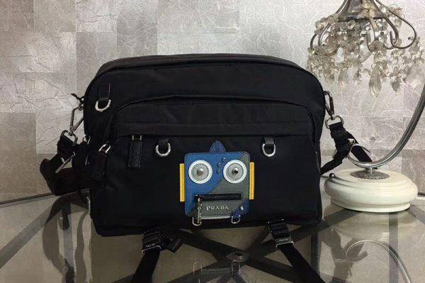 Replica Prada Robot Appliqué 2VH025 Nylon Messenger Bag With Blue/Grey