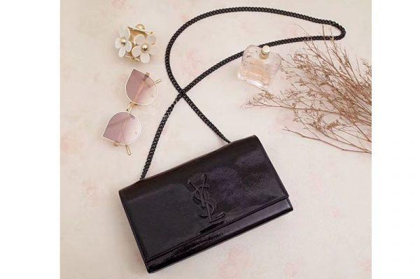Replica Saint Laurent 354021 Classic Medium Monogram Chain Satchel Bag Black Leather Black Chian
