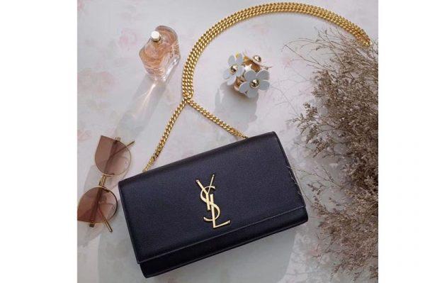 Replica Saint Laurent 354021 Classic Medium Monogram Chain Satchel Bag Black Leather Gold Chain