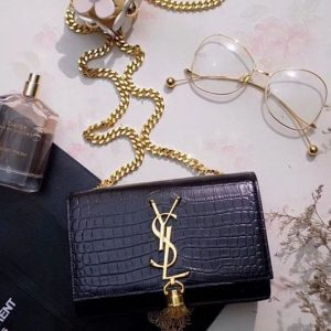 Replica Saint Laurent 354121 Classic Monogram Satchel In Black Crocodile Embossed Leather Gold Chain
