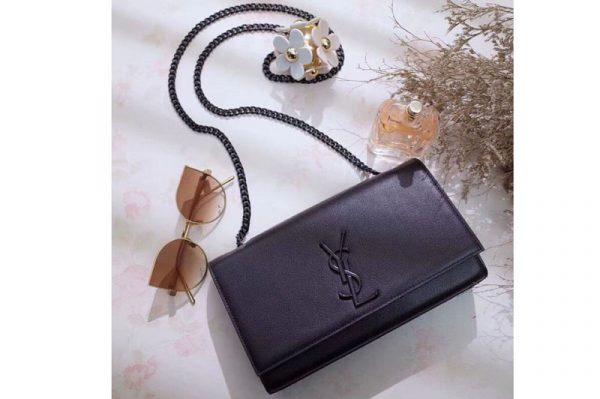 Replica Saint Laurent Grain De Poudre Textured Leather Classic Medium Kate Monogram Satchel Bag 364021 Black