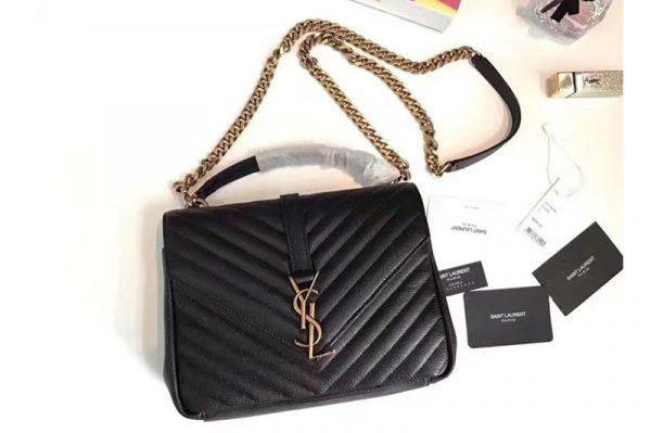 Replica Saint Laurent 392737 Classic Medium Monogram College Bags Black Leather Gold Chain