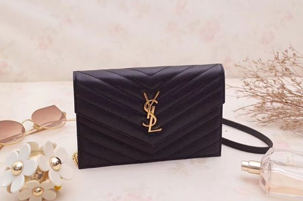 Replica Saint Laurent 393953 Grained Calfskin Monogram Envelope Chain Wallet Black Leather Gold Chain