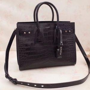 Replica Saint Laurent Sac De Jour Souple Bag Black Crocodile Leather 464960