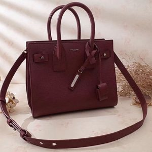 Replica Saint Laurent Medium Sac De Jour Souple Bag Grained Leather 477477 Wine