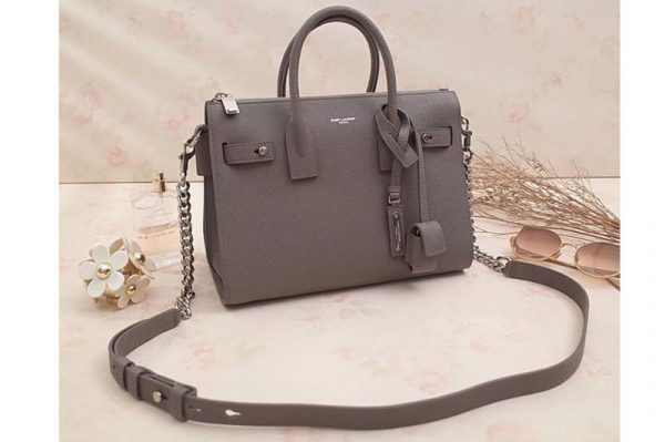 Replica Saint Laurent Sac De Jour Souple Duffle Bag Grained Leather 491715 Grey