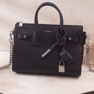 Replica Saint Laurent Sac De Jour Souple Duffle Bag Grained Leather 491715 Black