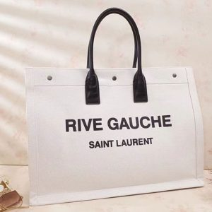 Replica Saint Laurent Rive Gauche Tote Bag In White Linen 499290