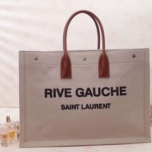 Replica Saint Laurent Rive Gauche Tote Bag In Brown Linen 499290