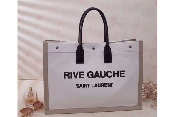 Replica Saint Laurent Rive Gauche Tote Bag In White And Brown Linen 499290
