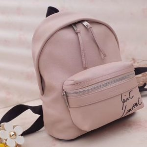 Replica Saint Laurent Mini Toy City Embroidered Backpack in Lambskin 505031 Pink