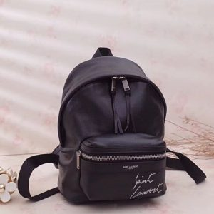 Replica Saint Laurent Mini Toy City Embroidered Backpack in Lambskin 505031 Black