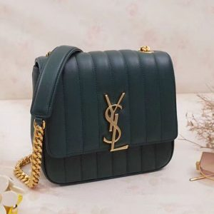 Replica Saint Laurent Medium Vicky Chain Bag Original Leather 532612 Green