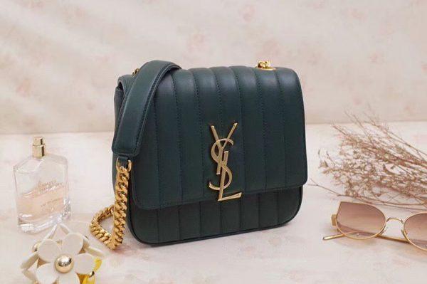 Replica Saint Laurent Medium Vicky Chain Bag Original Leather 532612 Green
