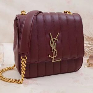 Saint Laurent Medium Vicky Chain Bag Original Leather 532612 Wine