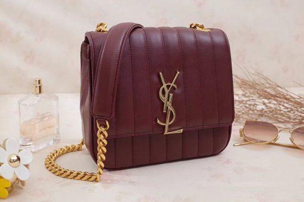 Saint Laurent Medium Vicky Chain Bag Original Leather 532612 Wine
