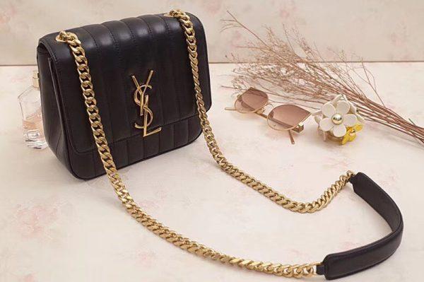 Replica Saint Laurent Medium Vicky Chain Bag Original Leather 532612 Black