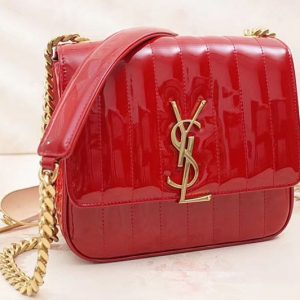 Replica Saint Laurent Medium Vicky Chain Bag Patent Leather 532612 Red